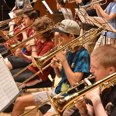 Jazz Ensemble Campers prepare for their final performance at FSU Summer Music Camps.