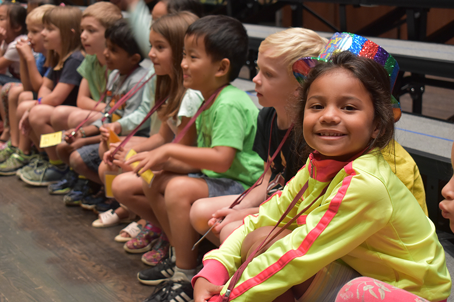 Elementary campers prepare for their dinosaur-themed performance at FSU Summer Music Camps.