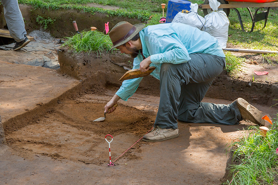FSU Associate Professor of Anthropology Tanya Peres conducted an archaeology field school at Mission San Luis where students investigated an area that was the site of both an old Spanish structure and possibly one built by the Apalachee.