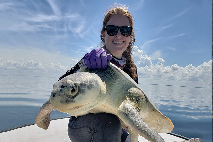 Study lead author Natalie Wildermann with a Kemps ridley sea turtle.