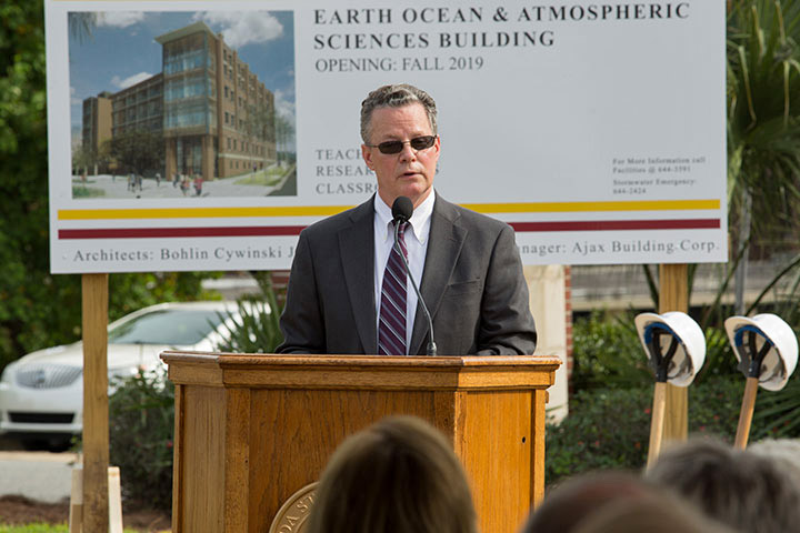 Sam Huckaba, dean of the College of Arts and Sciences, speaks at the groundbreaking ceremony for the Earth, Ocean and Atmospheric Science building in October 2016. (FSU Photography Services)
