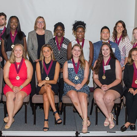 Provost Sally McRorie with the Summer 2018 inductees to the Garnet and Gold Scholar Society at at ceremony July 25, 2018. (FSU Photography Services)