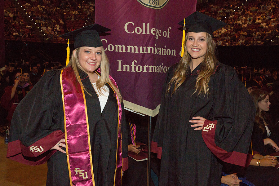 New graduates Rachel Hollingsworth and Margaret Howard are all smiles at FSU summer commencement Aug. 3, 2018. (FSU Photography Services)