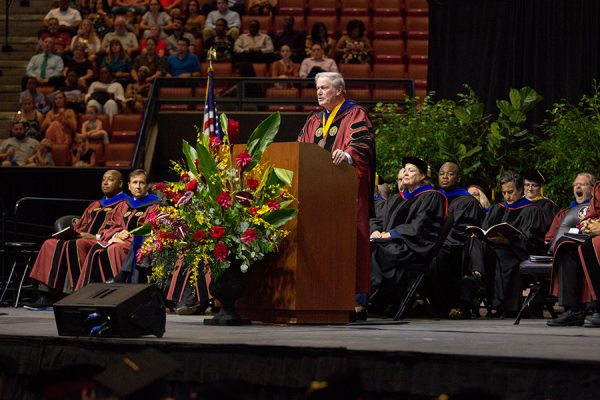 President John Thrasher presides over FSU summer commencement Friday, Aug. 3, and Saturday, Aug. 4, 2018, at the Donald L. Tucker Civic Center. (FSU Photography Services)