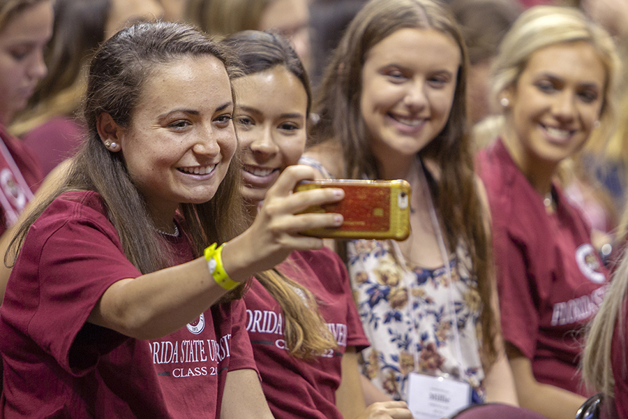 Students enjoy FSU New Student Convocation Sunday, Aug. 26, 2018. (FSU Photography Services)