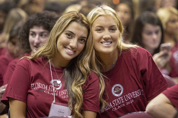 Students enjoy FSU New Student Convocation Sunday, Aug. 26, 2018. (FSU Photography Services)