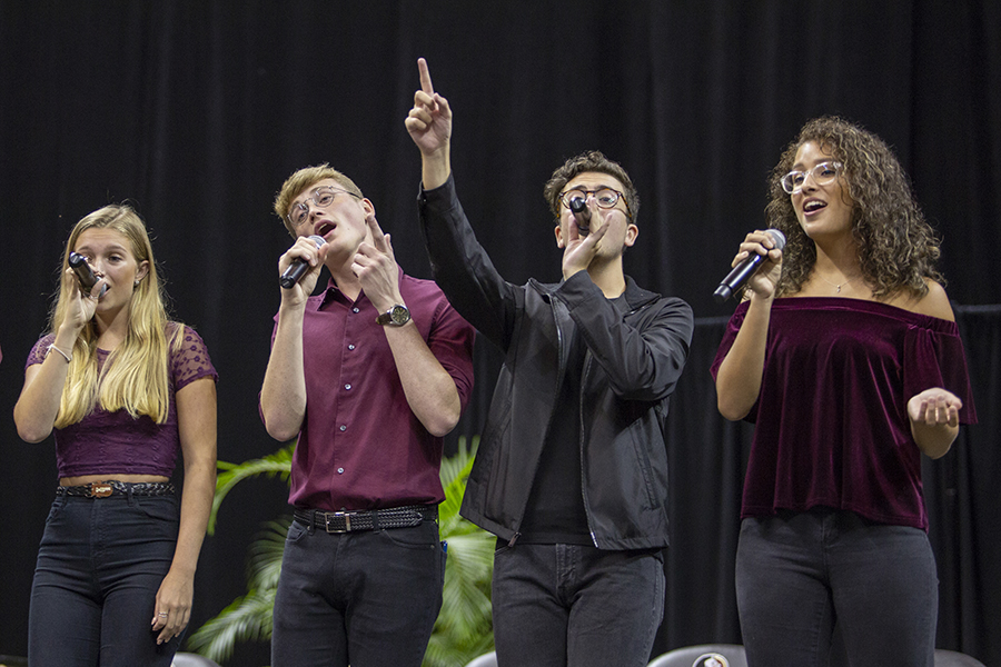 All Night Yahtzee performs at FSU New Student Convocation Sunday, Aug. 26, 2018. (FSU Photography Services)