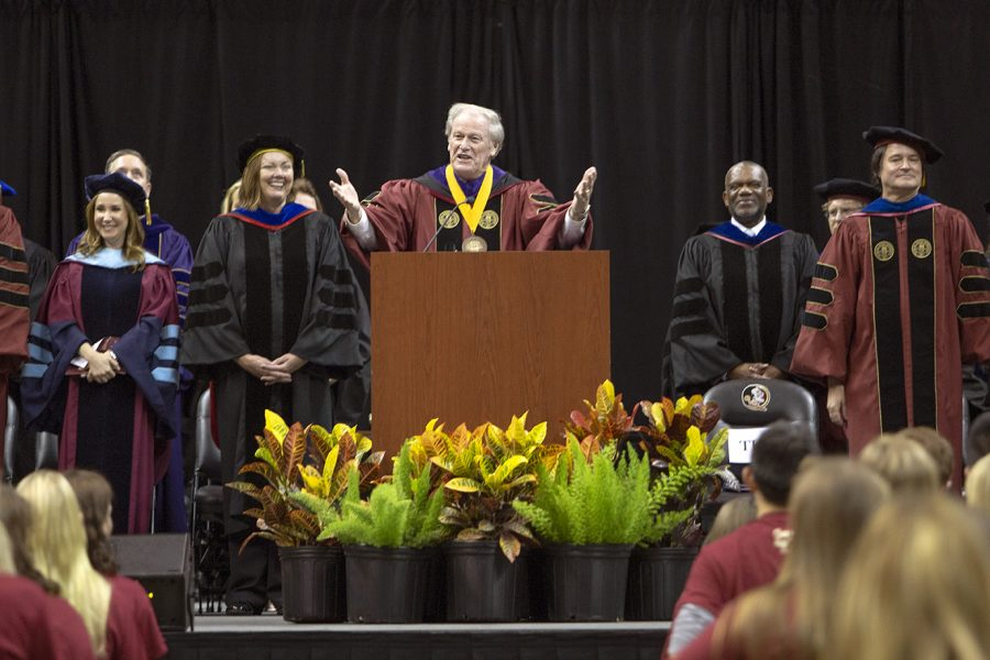 President John Thrasher speaks at FSU New Student Convocation Sunday, Aug. 26, 2018. (FSU Photography Services)