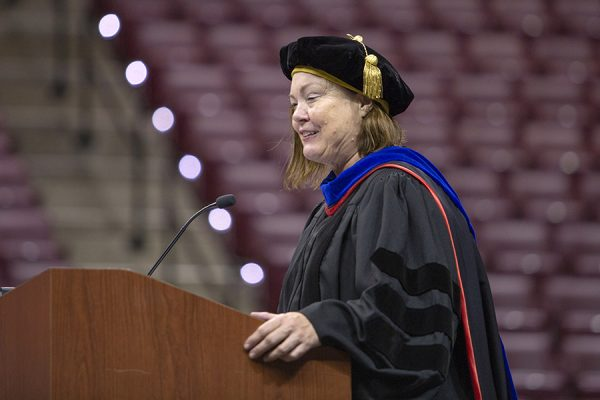 Provost Sally McRorie speaks at FSU New Student Convocation Sunday, Aug. 26, 2018. (FSU Photography Services)