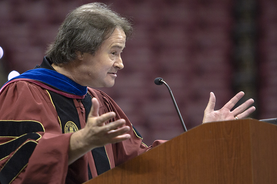 Professor and dean of the Graduate School Mark Riley speaks at FSU New Student Convocation Sunday, Aug. 26, 2018. (FSU Photography Services)