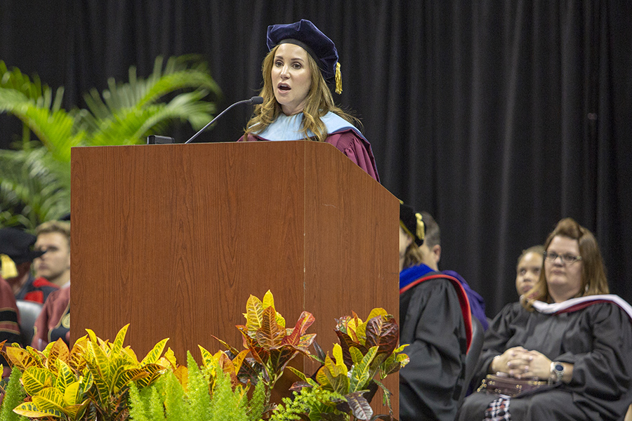 Vice President for Student Affairs Amy Hecht speaks during FSU New Student Convocation Sunday, Aug. 26, 2018. (FSU Photography Services)