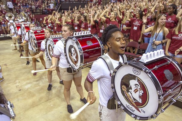The Marching Chiefs perform during FSU New Student Convocation Sunday, Aug. 26, 2018. (FSU Photography Services)