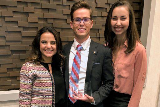 From left: Incoming SBA President Cecilia Orozco, Representative Brandon Sapala and Vice President Hillary Thornton.