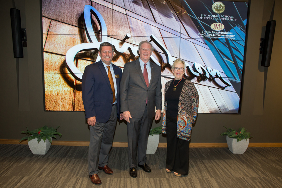 Randy Blass, executive director of the Jim Moran Institute for Global Entrepreneurship, FSU President John Thrasher and Susan Fiorito, director of the Jim Moran School of Entrepreneurship celebrate the opening of the facility. (May 1, 2018 — FSU Photography Services)