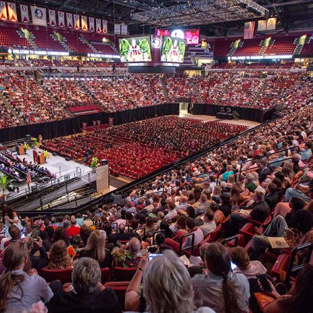 Thousands attended FSU's 2018 summer commencement ceremonies at the Donald L. Tucker Civic Center. The 2019 spring commencement ceremonies will take place May 3, 4. (FSU Photography Services)
