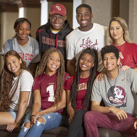 Freshmen from FSU's CARE program are excited for the fall semester. Front row, from left: Nathalie Salano, Oksana Salaam, Alexis Butler and Ahmad Daraldik. Top row, from left: Etoni Holloway, Jamelvin Williams, D'Vodrek Ponder, Gabriella Caruso. (FSU Photography Services)