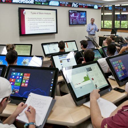 In 2013, the College of Business introduced a dedicated trading room that is used by the SIF's student managers.