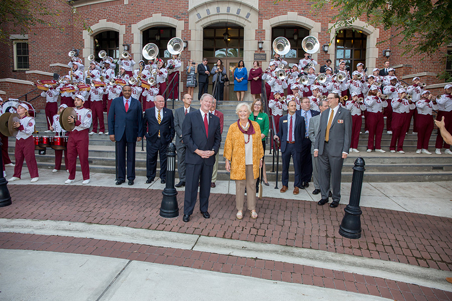 President John Thrasher, First Lady Jean Thrasher and the Marching Chiefs await the arrival of Botswana President Mokgweetsi Masisi outside Ruby Diamond Concert Hall Thursday, Sept. 20, 2018. (FSU Photography Services)