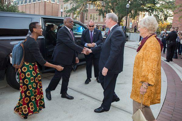 President John Thrasher and First Lady Jean Thrasher greet Botswana President Mokgweetsi Masisi outside Ruby Diamond Concert Hall Thursday, Sept. 20, 2018. (FSU Photography Services)