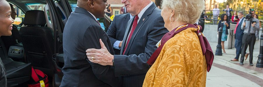 President John Thrasher and First Lady Jean Thrasher greet Botswana President Mokgweetsi Masisi outside Ruby Diamond Concert Hall Thursday, Sept. 20, 2018. (FSU Photography Services)