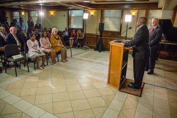Botswana President Mokgweetsi Masisi addresses the media in the Westcott Building Thursday, Sept. 20, 2018. (FSU Photography Services)