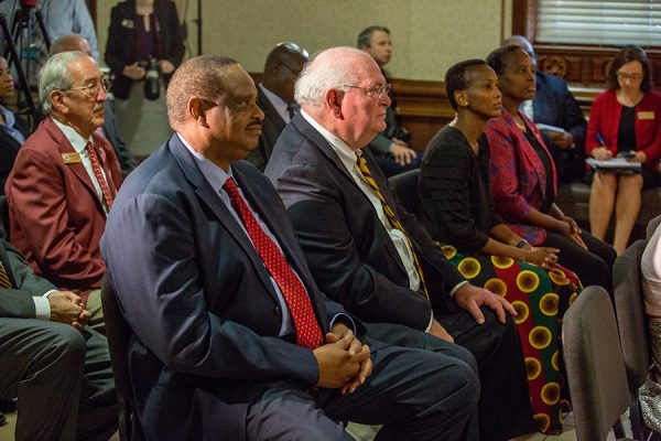 U.S. Rep. Al Lawson and Florida Sen. Bill Montford listen to President Masisi's remarks Thursday, Sept. 20, 2018. (FSU Photography Services)