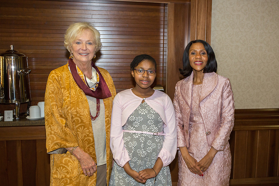 FSU First Lady Jean Thrasher, Atsile Masisi and Botswana First Lady Mrs. Neo Jane Masisi at a reception Thursday, Sept. 20, 2018. (FSU Photography Services)