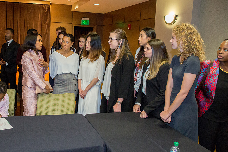 Botswana First Lady Mrs. Neo Jane Masisi talks with FSU students after a town hall event Thursday, Sept. 20, 2018. (FSU Photography Services)