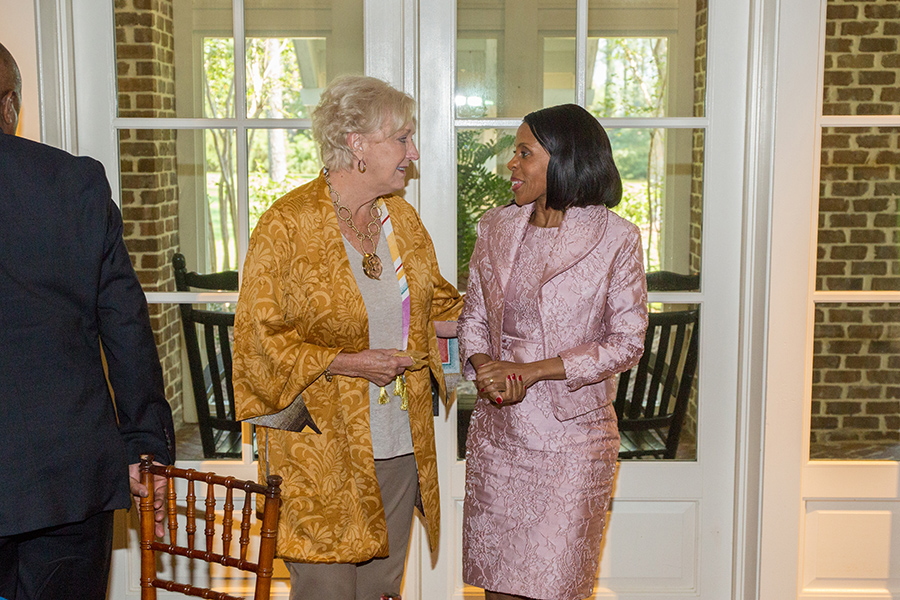 FSU First Lady Jean Thrasher and Botswana First Lady Mrs. Neo Jane Masisi visit during a luncheon at the President's House Thursday, Sept. 20, 2018. (FSU Photography Services)