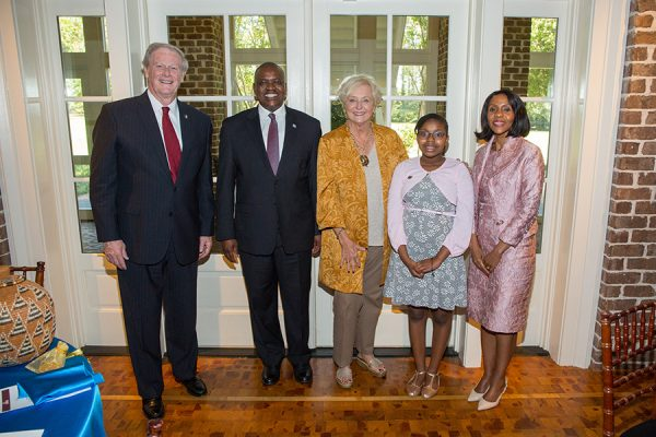 FSU President John Thrasher, President Mokgweetsi Masisi, FSU First Lady Jean Thrasher, Atsile Masis and Botswana First Lady Mrs. Neo Jane Masisi during a luncheon at the President's House Thursday, Sept. 20, 2018. (FSU Photography Services)