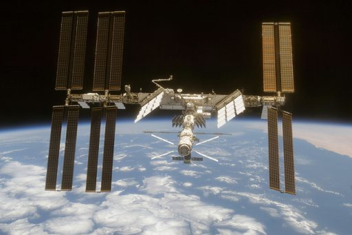 The International Space Station is seen from Space Shuttle Discovery in June 2008. (Credit: NASA)
