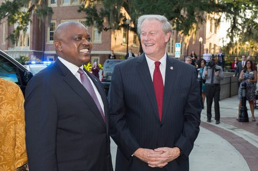 FSU President John Thrasher greets His Excellency President Mokgweetsi Masisi of the Republic of Botswana outside Ruby Diamond Concert Hall during an official visit Thursday, Sept. 20, 2018. (FSU Photography Services)