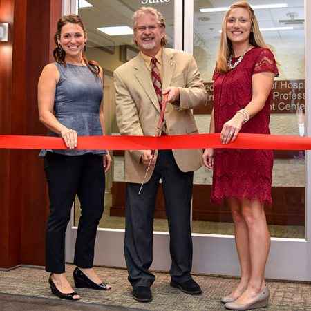 (L-R) Sarah Collins, FSU Foundation Director of Development, Student Affairs; Don Farr, Director of the Dedman School of Hospitality; Alishia Piotrowski, Director of the Dedman School of Hospitality's Marriott Career and Professional Development Center
