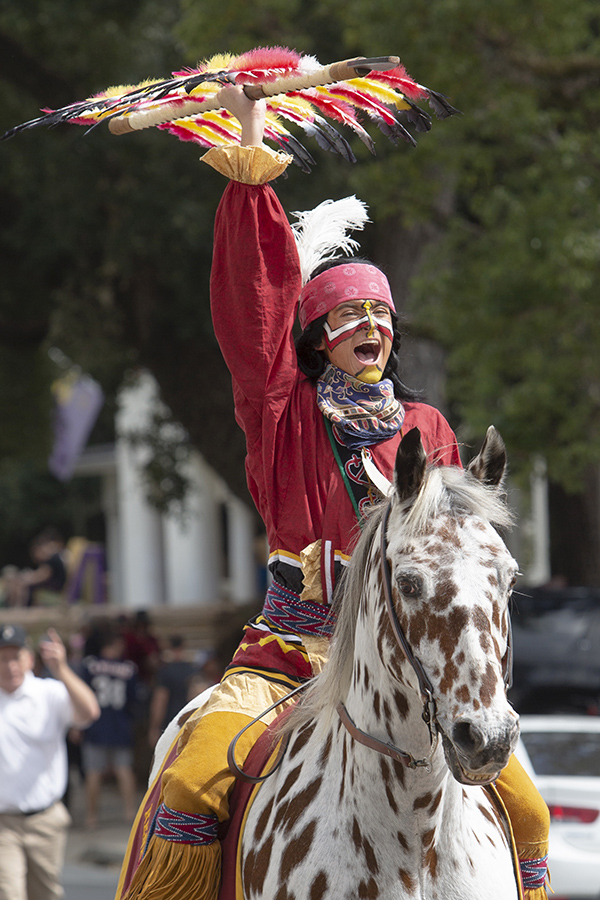 Osceola and Renegade ride in the Florida State University Homecoming Parade Friday, Oct. 19, 2018. (FSU Photography Services)