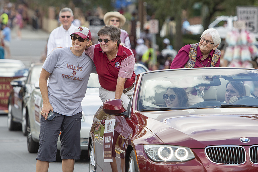Former FSU softball coach Joanne Graf rides in the Florida State University Homecoming Parade Friday, Oct. 19, 2018. (FSU Photography Services)