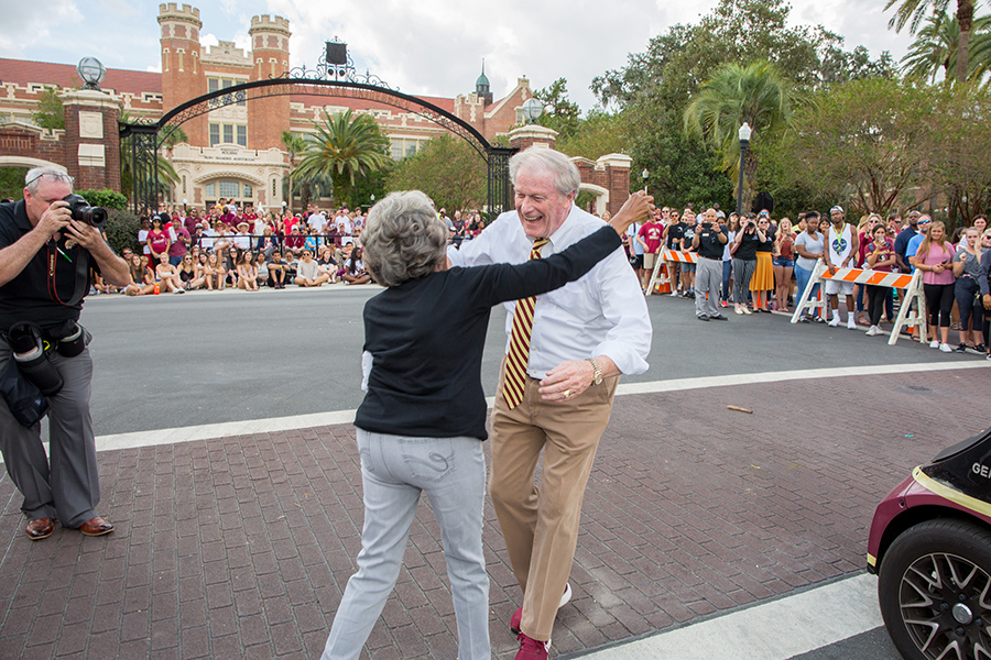 President John Thrasher walks in the Florida State University Homecoming Parade Friday, Oct. 19, 2018. (FSU Photography Services)