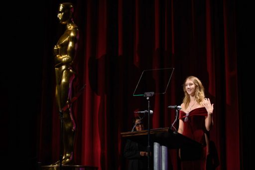 FSU film student Shae Demandt gives a speech as she accepts her Student Academy Award in Beverly Hills Oct. 11. (Photo: Academy of Motion Picture Arts and Sciences)