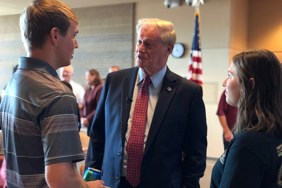 President Thrasher greets students as they return to class Monday, Oct. 29, for the first time since Hurricane Michael hit the Florida Panhandle.