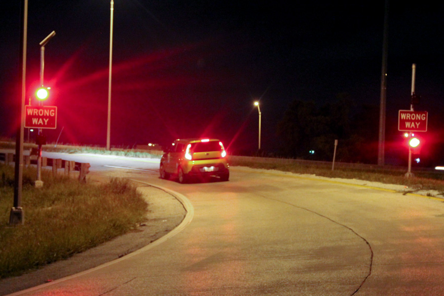 FSU's research team evaluated high-tech countermeasures for wrong-way driving. (Photo: Florida Department of Transportation)