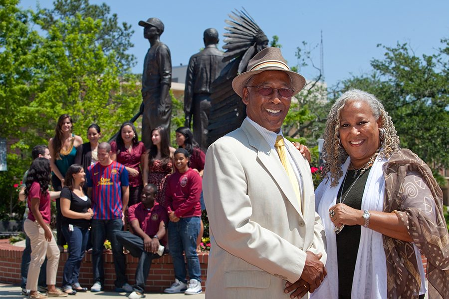 Doby and Fred Flowers at Florida State University's Integration Statue.