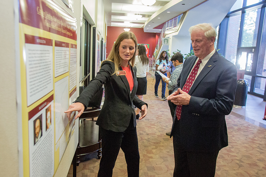 President Thrasher at the Undergraduate Research Symposium Monday, Oct. 1, 2018. (FSU Photography Services)