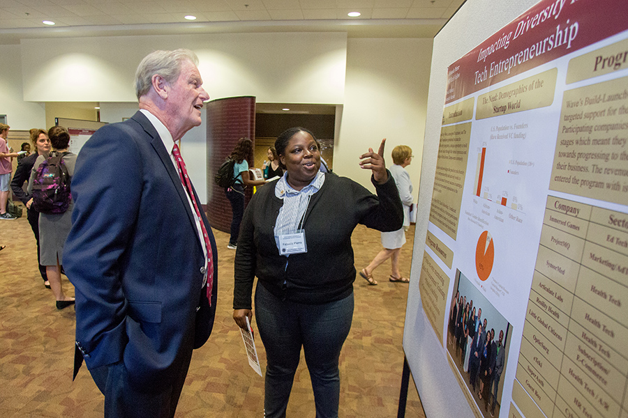 President Thrasher at the 2018 President's Showcase of Undergraduate Research Monday, Oct. 1, 2018. (FSU Photography Services)