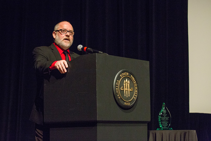 Reb Braddock, dean of the College of Motion Picture Arts, speaks at 8th annual Veterans Film Showcase. (FSU Photography Services)