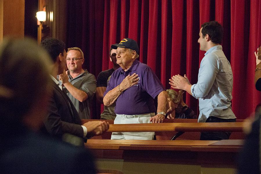 BFA student Royce Marnell (right) and his grandfather Dave Feldman —a World War II veteran and Purple Heart recipient —at the 8th annual Veterans Film Showcase. (FSU Photography Services)
