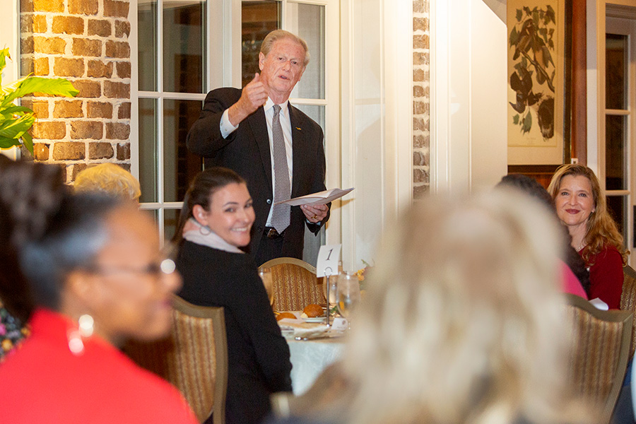 President John Thrasher speaks to the Transformation Through Teaching award winners during a reception and dinner at the President's House Nov. 29, 2018. (FSU Photography Services)