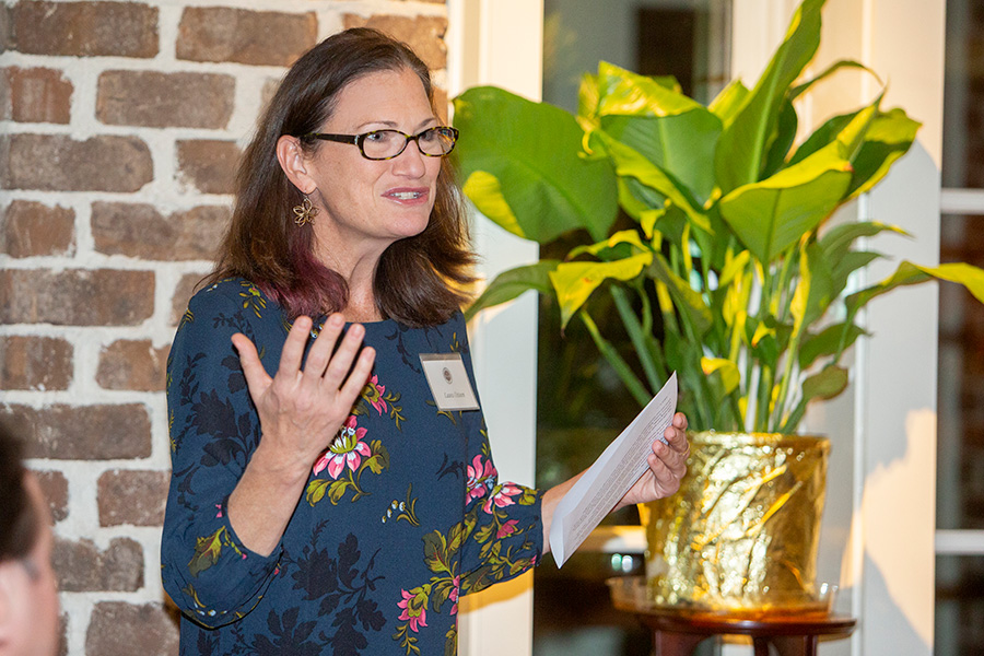 Laura Osteen speaks to the Transformation Through Teaching award winners during a reception and dinner at the President's House Nov. 29, 2018. (FSU Photography Services)