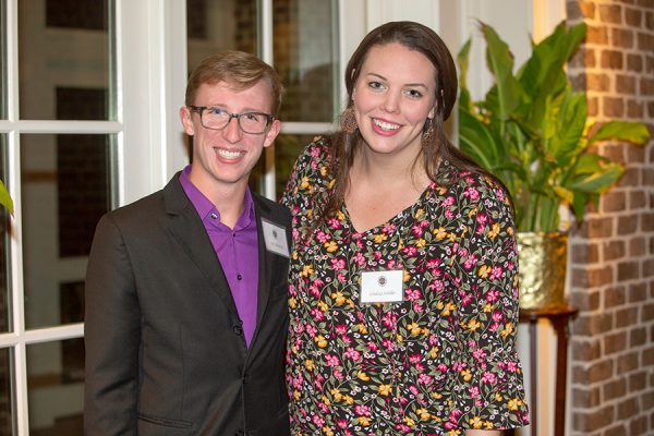 Student nominators Eric Meincke and Lindsay Schiller at the Transformation Through Teaching awards dinner Nov. 29, 2018. (FSU Photography Services)