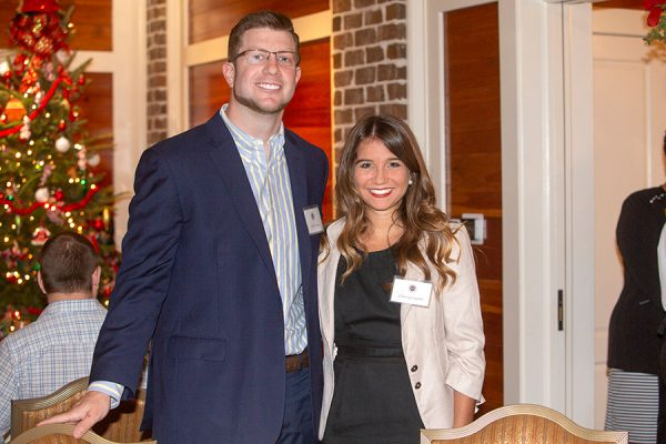 Russell Clayton, assistant professor of communication, and senior Claire Georgiadis at the Transformation Through Teaching awards dinner Nov. 29, 2018. (FSU Photography Services)