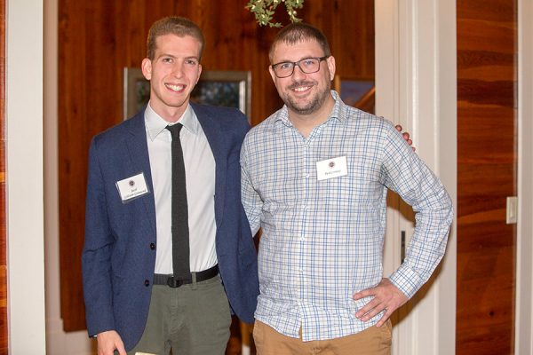 Senior Jacob Goldstein-Greenwood and Paul Conway, assistant professor of psychology, at the Transformation Through Teaching awards dinner Nov. 29, 2018. (FSU Photography Services)