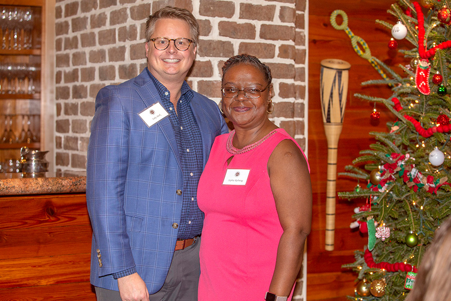 Toby Park, associate professor of education, and student nominator Sophia Rahming at the Transformation Through Teaching awards dinner Nov. 29, 2018. (FSU Photography Services)